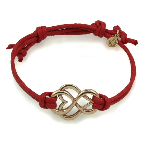 Golden Bronze Let Love Out Heart Corded Bracelet (Large, Red)