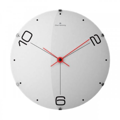 Oliver Hemming 10,2,6 Domed Glass Contemporary 50cm Wall Clock