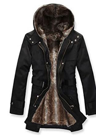 Buy Hee Grand Mens Luxury Faux Fur Long Winter Trench Coat by Hee Grand