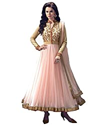 Shree Hans Creation Pink Neon Anarkali Dress Material
