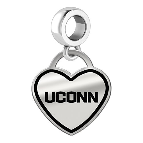 Connecticut Huskies Border Heart Dangle Charm Fits All Beaded Charm Bracelets