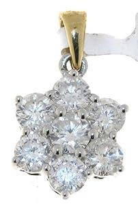 Pendentif + Chaîne Femme Pavage Or 2 Couleurs 750/1000 et Diamant Brillant 3.00 Carat H-I1 - 23mm*16mm Chaîne 40 CM
