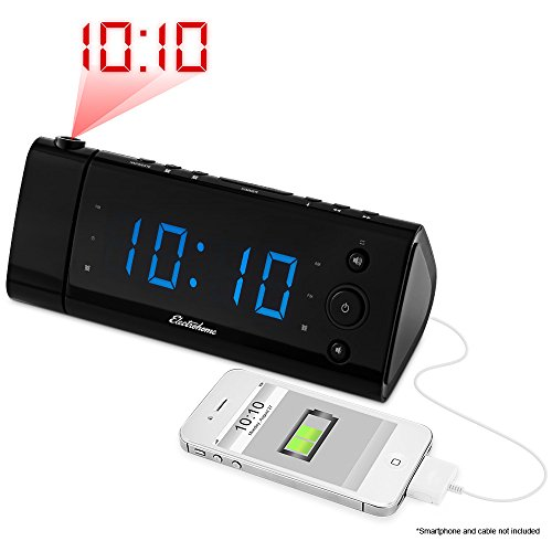 """Electrohome USB Charging Alarm Clock Radio with Time Projection, Battery Backup, Auto Time Set, Dual Alarm, 1.2"""" LED Display for Smartphones & Tablets (EAAC475)"""