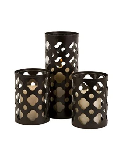 Set Of 3 Norte Cutwork Candle Holders, Brown