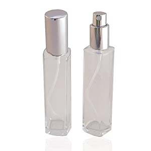 GETI BEAUTY Empty Refillable Slim Perfume Glass Bottle with Silver Spray Top 1.7oz/50ml