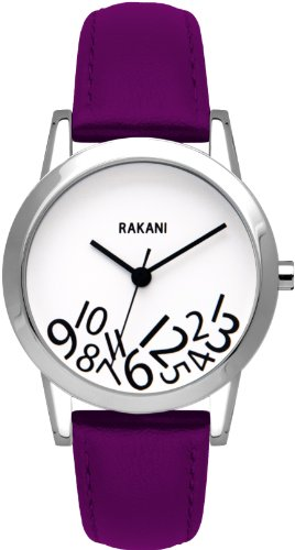 Rakani What Time? 32mm Black on White Watch with Purple Leather Band