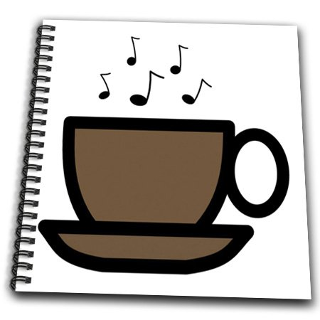 Db_38164_2 Florene Decorative - Brown Coffee Cup With Music Notes - Drawing Book - Memory Book 12 X 12 Inch