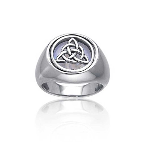 Bling Jewelry Silver Celtic Knot Simulated Moonstone Reversible Flip Ring