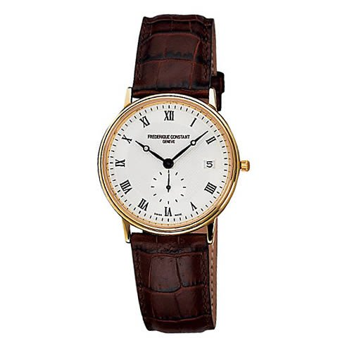 Frederique Constant Slim Line Silver Dial Brown Leather Mens Watch 245M4S5