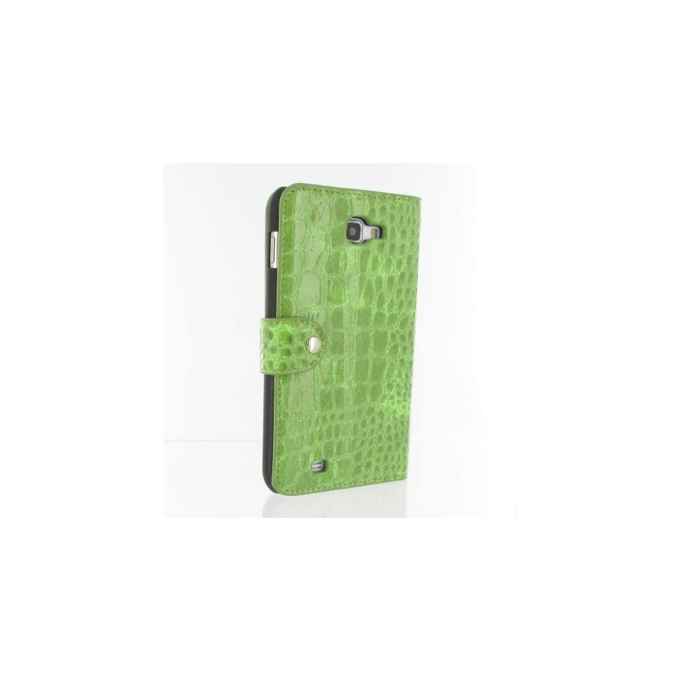 Light Green Crocodile Pattern PU Leather Flip Case / Cover / Skin / Shell For Samsung Galaxy Note / GT N7000 / i9220 +Free Screen Protector (7156 5)