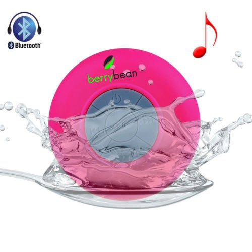 Berrybean Belle - Mini Portable Waterproof Bluetooth 3.0 Wireless Stereo Speaker W Suction Cup For Shower, Bathroom, Pool, Boat, Car , Outdoor, Etc, Compatible W All Bluetooth Devices - Ios Iphone / Ipad, Android - 6 Hour Rechargeable Battery W Built-In M