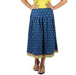 INDRICKA Blue colour Bio-silk (Modal) Skirt for womens.