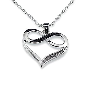 Silver Infinity Crystal Accent Heart Black Pendant Necklace Girlfriend Birthday Anniversary Gift Jewelry