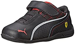 PUMA Drift Cat 6 L Ferrari V Kids Sneaker (Infant/Toddler/Little Kid), Black/Black/White, 3 M US Infant