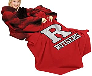 NCAA Rutgers Scarlet Knights Comfy Throw Blanket with Sleeves, Smoke Design
