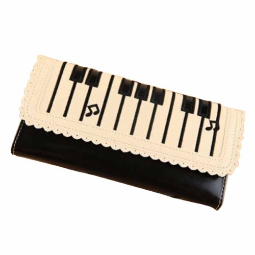 Women Girls Piano Music Notes Print Faux Leather Purse Wallet Mini Size Black