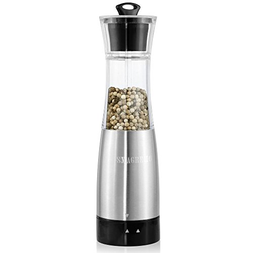 SMAGREHO Automatic Electric Salt or Pepper Grinder Mill with G-Sensor, Battery Powered and Adjustable Coarseness