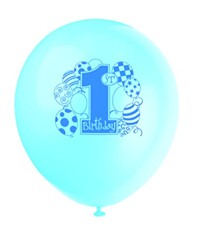 "12"" Latex Blue Balloons 1st Birthday Balloons, 8ct - 1"