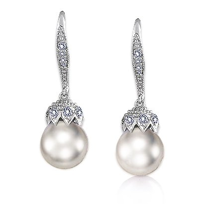 Bling Jewelry Bridal Pave Encrusted Crown Pearl Drop Leverback Earrings