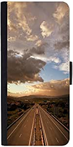 Snoogg Cloudy Sunset Over Highway Graphic Snap On Hard Back Leather + Pc Flip...