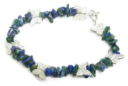 AM4391 – Unique blue and green gemstone butterfly bracelet by Dragonheart – 20cm