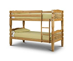 Chunky, Standard Two Sleeper, 3ft, Solid THICK STRONG Pine Wood BUNK BED with Luxury Spring MATTRESSES