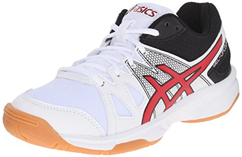 ASICS GEL-Upcourt GS Volleyball Shoe (Little Kid/Big Kid), White/Racing Red/Black, 5 M US Big Kid