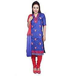 Raahi Blue Cotton Embroidered Unstitched Dress Material