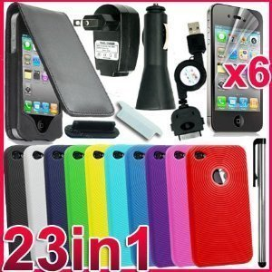23 in 1 ACCESSORY BUNDLE CASE CAR CHARGER FOR IPHONE 4S AND 4