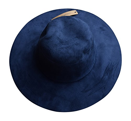 Womens Vintage Faux Suede Round Fedora Cloche Cap Wool Felt Bowler Hat (Navy) (Bowler Hat Blue compare prices)