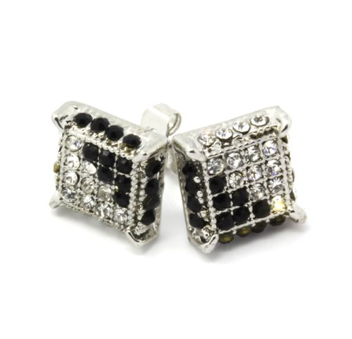Mens Silver And Black/Clear Cz Cube Iced Out Hip Hop Micro Pave Kite Stud Earrings Bling