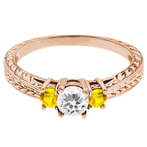 0.59 Ct Round White Topaz Yellow Sapphire 14K Rose Gold 3-Stone Ring