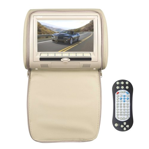 Pyle PL73DTN 7-Inch Wide Screen Hi-Res Headrest Video Display Monitor with Built-in DVD Player, USB /SD Readers, Remote Control (Tan)