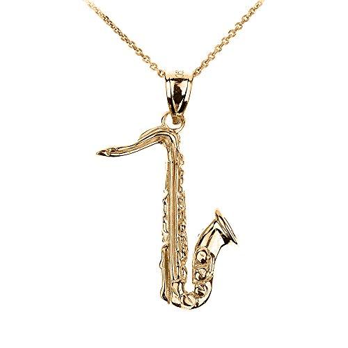 Halskette-14-Karat-Gelbgold-3D-Saxophon-Musik-Anhnger-Halskette-Kommt-mit-einem-45cm-Kette