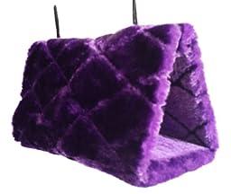 Generic Parrot Hammock Happy Hut Hideaway Fluffy Cave Cage Snuggle Tent Bunk Bird Toy (Purple, L)