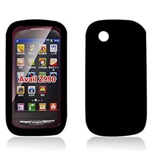 For AT&T Zte Avail Z990 Accessory - Black Silicon Skin Gel Case Proctor Cover + Free Lf Stylus Pen