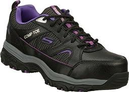 Skechers Work D\'Lite SR Tottle Womens Slip Resistant Safety Toe Sneakers Wide Width BKPR 8.5 W