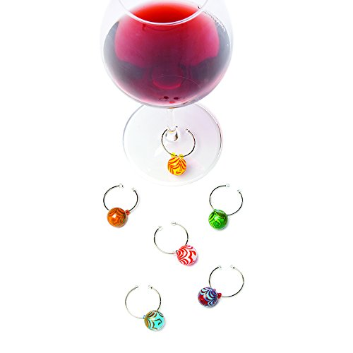 True Fabrications Swirly Glass Balls Wine Charms (Set of 6)