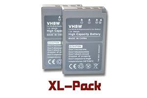 2 x vhbw Akku Set 900mAh für Kamera Olympus Pen E-PL2, E-PL5, E-PM2, Stylus 1, E-PM1, E-PM2, OM-D E-M10 wie PS-BLS5.