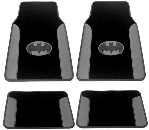 Batman 4Pc Gotham City Gray Leather Trim - Silver Logo Front & Rear Plush Carpet & Leather Trim Car Truck Suv Floor Mat Gift Set front-536726