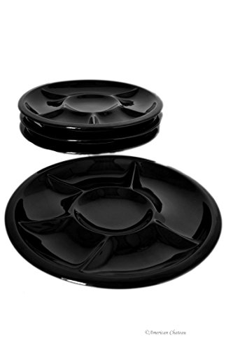 Set 4 Divided 6-Section Black Porcelain 9.5