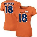 Peyton Manning Denver Broncos Womens Fair Catch IV Orange Name and Number T-Shirt