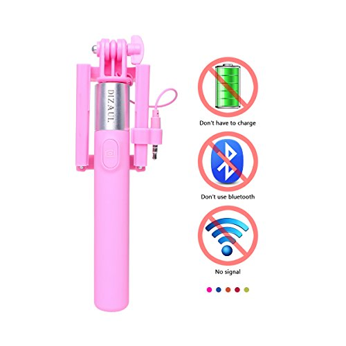 Selfie Stick, dizauL? new version girl series mini Cable portrait Monopod Pole with built-in Remote Shutter ( No Battery & No Bluetooth ) for iPhone, Samsung and other IOS and Android Smartphones(pink)