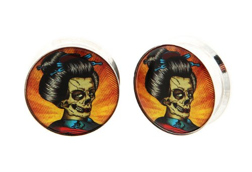 "7/16"" 11Mm 316L Stainless Steel Stash Japanese Geisha Day Of The Dead Sugar Skull Dia De Los Muertos Internally Threaded Logo Ear Gauges Plugs (Sold By Pair)"