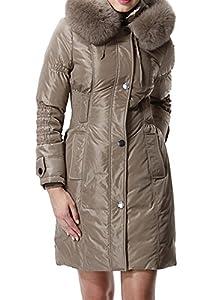 BORUIDESI Women's Modern Fur Trim Warm Work Casual Down Coat Jacket-Champage Khaki-3XL