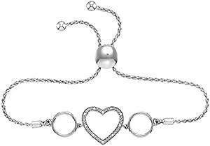 Diamond Heart Bolo Bracelet 1/20 CTW Rhodium on Sterling Silver