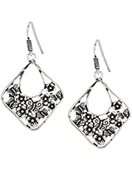 Bindhani Filigree Flower Shaped Black Oxidized Silver Plated Metal Earrings For Girls