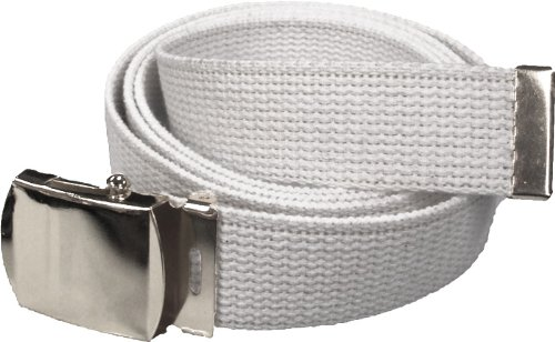 "100% Cotton Military 54"" Web Belt (White w/Silver Buckle)"