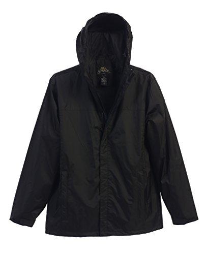Gioberti Mens Waterproof Front Zip Hooded Rain Jacket, Black, M