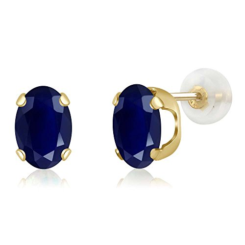 2.04 Ct Oval Blue Sapphire 14K Yellow Gold Gemstone Birthstone Stud Earrings